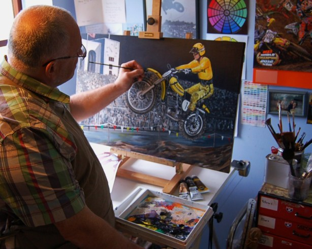 Artist rob Kinsey working on Tripes commission in his studio in Derbyshire, England.